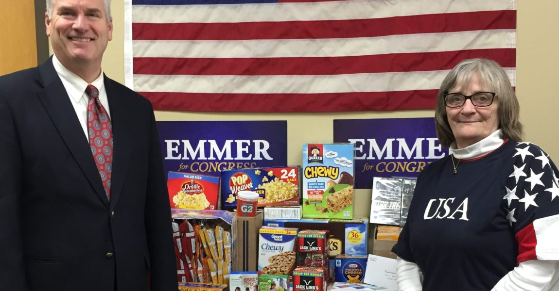 Congressman Emmer Donates Care Package Items to Active Duty Military